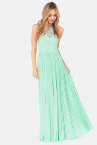 Bariano Best of Both Whirleds Mint Green Lace Maxi Dress at Lulus.com!
