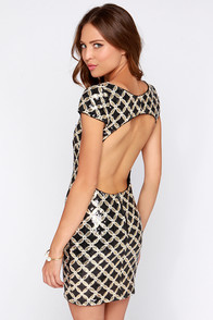 Sin City Living Black and Gold Sequin Dress at Lulus.com!
