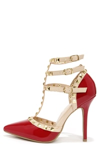Wild Diva Lounge Adora 55 Dark Red Studded T-Strap Pointed Heels at Lulus.com!