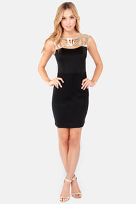 Lumier On the Same Cage Gold and Black Dress at Lulus.com!