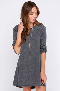 Symphony Dark Grey Swing Dress at Lulus.com!