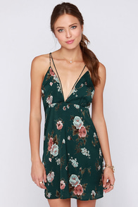 Plaza-ble Excuse Forest Green Floral Print Dress at Lulus.com!