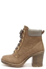 Dirty Laundry Remix Taupe High Heel Work Boots at Lulus.com!