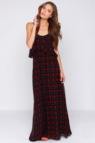 Tartan the Mood Red and Navy Blue Plaid Maxi Dress at Lulus.com!