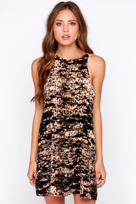 Bleacher's Pet Black and Brown Print Shift Dress at Lulus.com!