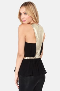 Lumier Laser Gleam Gold and Black Top at Lulus.com!