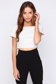 Victory Boulevard Ivory Vegan Leather Crop Top at Lulus.com!