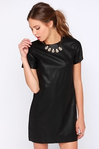 Total Control Black Vegan Leather Dress at Lulus.com!