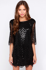 Under the Affluence Black Sequin Dress at Lulus.com!