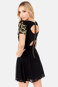 Lumier Baroque the Mould Embroidered Black Dress at Lulus.com!