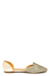 Bamboo Object 26 Gold D'Orsay Pointed Flats at Lulus.com!