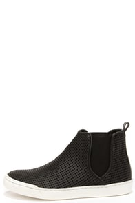 Steve Madden Elvinn Black Perforated Slip-On Sneakers at Lulus.com!