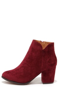 Notch Your Average Wine Red High Heel Ankle Boots at Lulus.com!