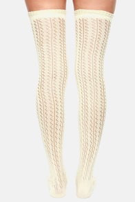 Kiss and Pointelle Over the Knee Cream Socks at Lulus.com!