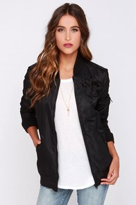 Obey Maverick Black Oversized Bomber Jacket at Lulus.com!