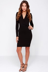 Taking Minutes Black Long Sleeve Midi Dress at Lulus.com!