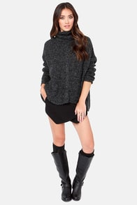Cowl at the Moon Grey and Black Sweater at Lulus.com!