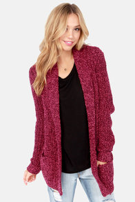 Olive & Oak Fireside Fox Burgundy Cardigan Sweater at Lulus.com!