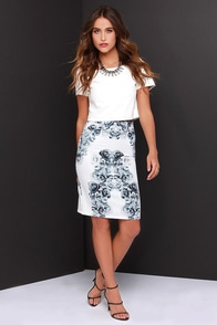 LULUS Exclusive Fifty Shades Away Ivory Floral Print Skirt at Lulus.com!