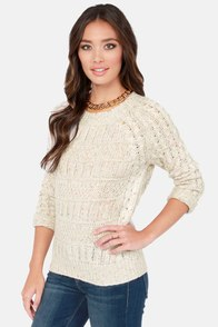 Lavand Confetti Cake Speckled Beige Sweater at Lulus.com!
