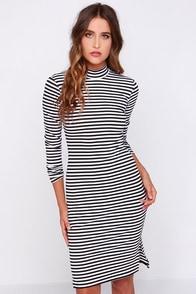 Mink Pink Stripe Skivvy Black and White Striped Midi Dress at Lulus.com!