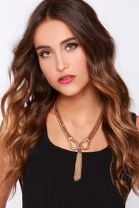Tied and True Gold Tassel Necklace at Lulus.com!