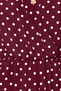 That's a Wrap Burgundy Polka Dot Long Sleeve Dress at Lulus.com!
