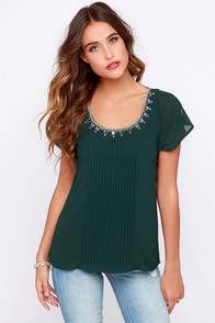 Quite Continental Forest Green Beaded Top at Lulus.com!