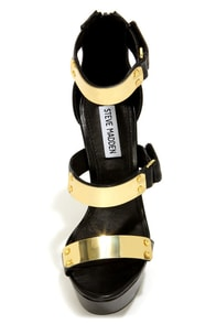 Steve Madden Areaa Black and Gold-Plated Platform Heels at Lulus.com!