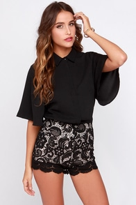 Always Ready Short Sleeve Black Top at Lulus.com!