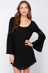 Coveted Company Long Sleeve Black Shift Dress at Lulus.com!