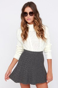 Stuck on Rewind Grey Skirt at Lulus.com!