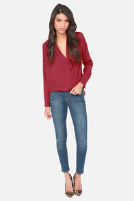 Wind in the Billows Wine Red Top at Lulus.com!