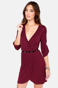 Overlap of Luxury Burgundy Wrap Dress