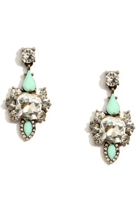 Your Every Whim Mint Rhinestone Earrings at Lulus.com!