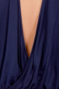 Cue For the Show Backless Navy Blue Top at Lulus.com!