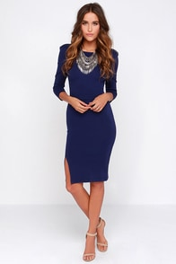 Contemporary Artist Navy Blue Midi Dress at Lulus.com!