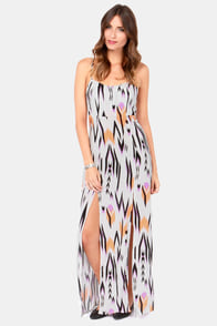 Volcom Go Getter Light Grey Print Maxi Dress at Lulus.com!