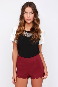 Sassy Situation Burgundy High-Waisted Shorts at Lulus.com!