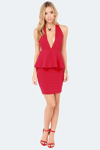 Flirting with Spectacular Red Halter Dress at Lulus.com!