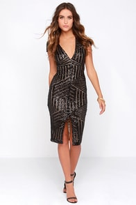 Rubber Ducky Red Carpet Royalty Black Sequin Midi Dress at Lulus.com!