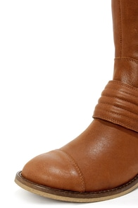 Jessica Simpson Elmont Rich Bourbon Leather Riding Boots at Lulus.com!