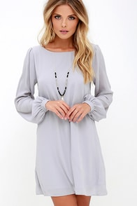 LULUS Exclusive Status Update Light Grey Shift Dress at Lulus.com!