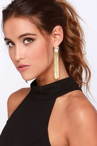 Fringe-tastic Gold Rhinestone Fringe Earrings at Lulus.com!