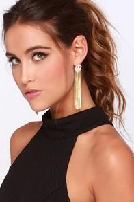 Fringe-tastic Gold Rhinestone Fringe Earrings at Lulus.com!