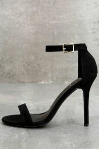 LULUS Elsi Black Single Strap Heels