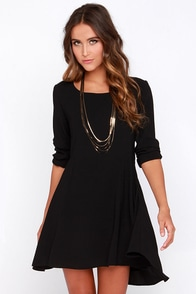 Kill the Lights Black Long Sleeve Dress at Lulus.com!