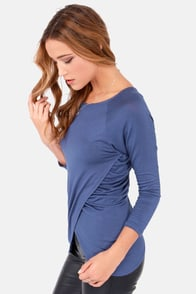 Tulips Don't Lie Long Sleeve Blue Top at Lulus.com!