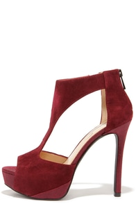 Jessica Simpson Carideo Oxblood Kid Suede T-Strap Heels at Lulus.com!
