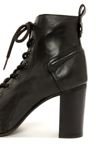 Steve Madden Scandlus Black Leather Lace-Up Peep Toe Booties at Lulus.com!